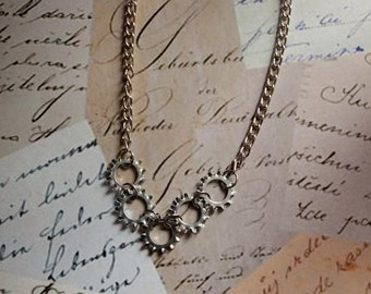 Upcycled Industrial Hardware Silver Lock Washer Necklace