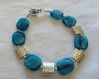 Aqua Swirl & Silver Bracelet