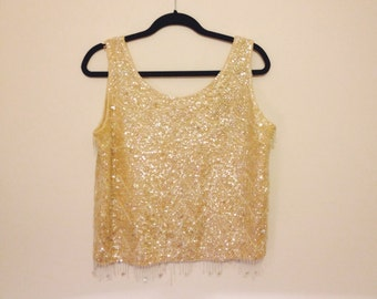 20s Vintage Beaded Sequined Top Cream Color