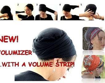 Volumizer & Volume Strip-NEW-All In One Hat, Great under Tichel, Head Scarves, Wigs, Chemo, Head Coverings Volumizing Hijab Headpiece Bun
