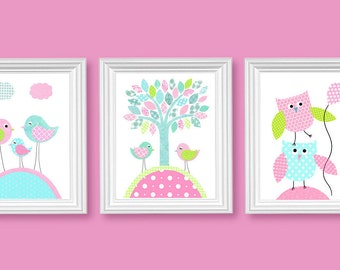 Aqua Pink Green Nursery Art Birds Owls Tree Girl's Room Decor Playroom Baby Shower Gift Toddler Children's Art 8 x 10 or 11 x 14 Print Set