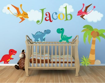 GIANT Wall Decals For Kids Bedroom   Dinosaur Wall Decal   Name Wall Decal   Dino