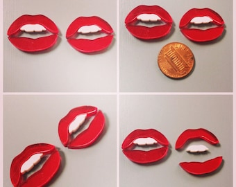 Laser Cut Lips with teeth/ mouth (lot of 2) Red Mirror