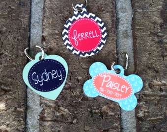 Personalized Dog or Cat ID Tag  Monogram Your Pet  Dog or Cat Tag Identification Tag Pet Chip Number Pet Owner Design Your Own - Made in USA