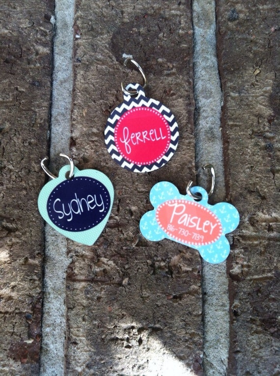 personalized dog or cat id tag monogram your pet dog or cat