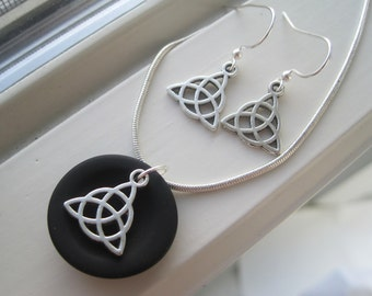 Celtic Knot Necklace - Irish Jewelry - St. Patrick's Day Jewelry - Celtic Knot Jewelry - Black Pendant Necklace - Necklace and Earring Set