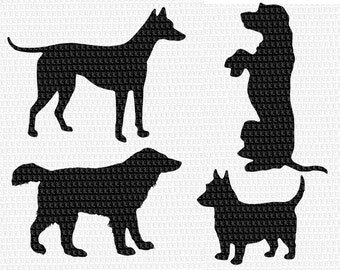 4 Digital Dog Silhouettes High Quality Clip Art  Instant Download Printable Graphics 1845