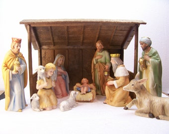 Homco Nativity Set 5603 Porcelain Bisque 9 Figurines With Plastic Stable Retired Vintage 1980 39 S