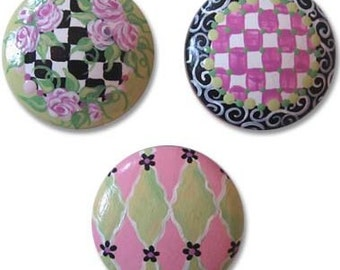 Hand Painted Whimsical Checkers Drawer Knobs Nursery Cabinet Pulls