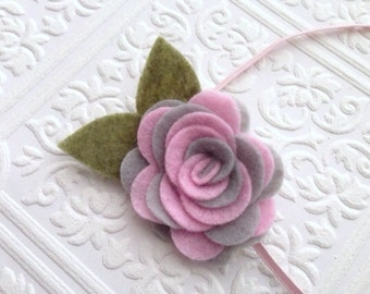 I Felt For You Pink and Gray Swirl Headband or Hair Clip