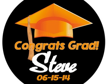 Graduation Orange GRAD Cap Personalized Stickers , High School or College Custom School Colors Available