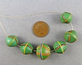 Antique African Trade Beads 6 Venetian Glass Beads Antique Jewelry Supplies Green King Beads Craft Supplies Old Beads UK