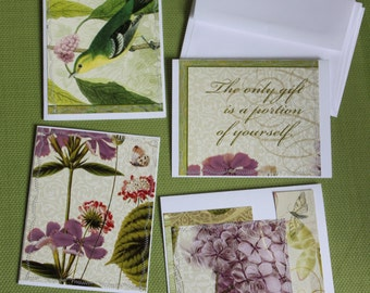 Set of 4 Stitched Notecards w/ Re-Purposed Calendar Art