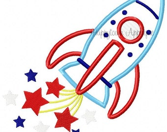 Fourth of July Rocket Machine Embroidery Design