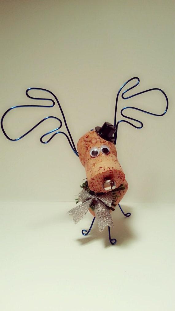 Wine Cork Reindeer Ornament Cork Moose Ornament by ...