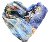 Hand painted silk scarf Le Petit Prince. The Little Prince silk scarf. READY TO SHIP!