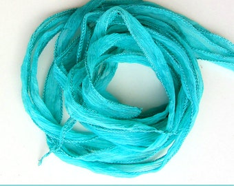 set with 3 silk ribbons crinkle crepe turquoise