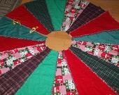 Santa Bear Rag Quilt Christmas Tree Skirt