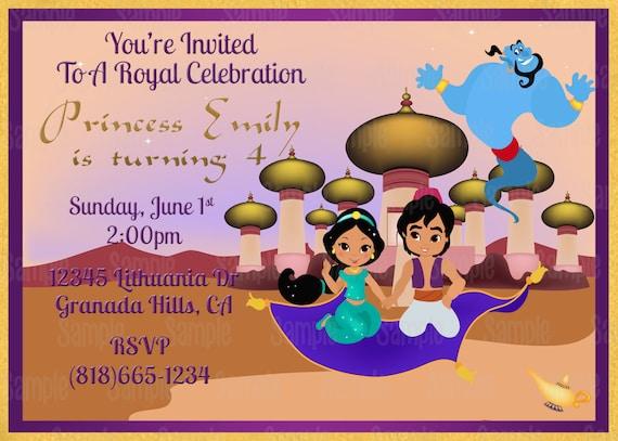 Printable princess jasmine aladdin birthday party invitation plus il570xn stopboris Image collections