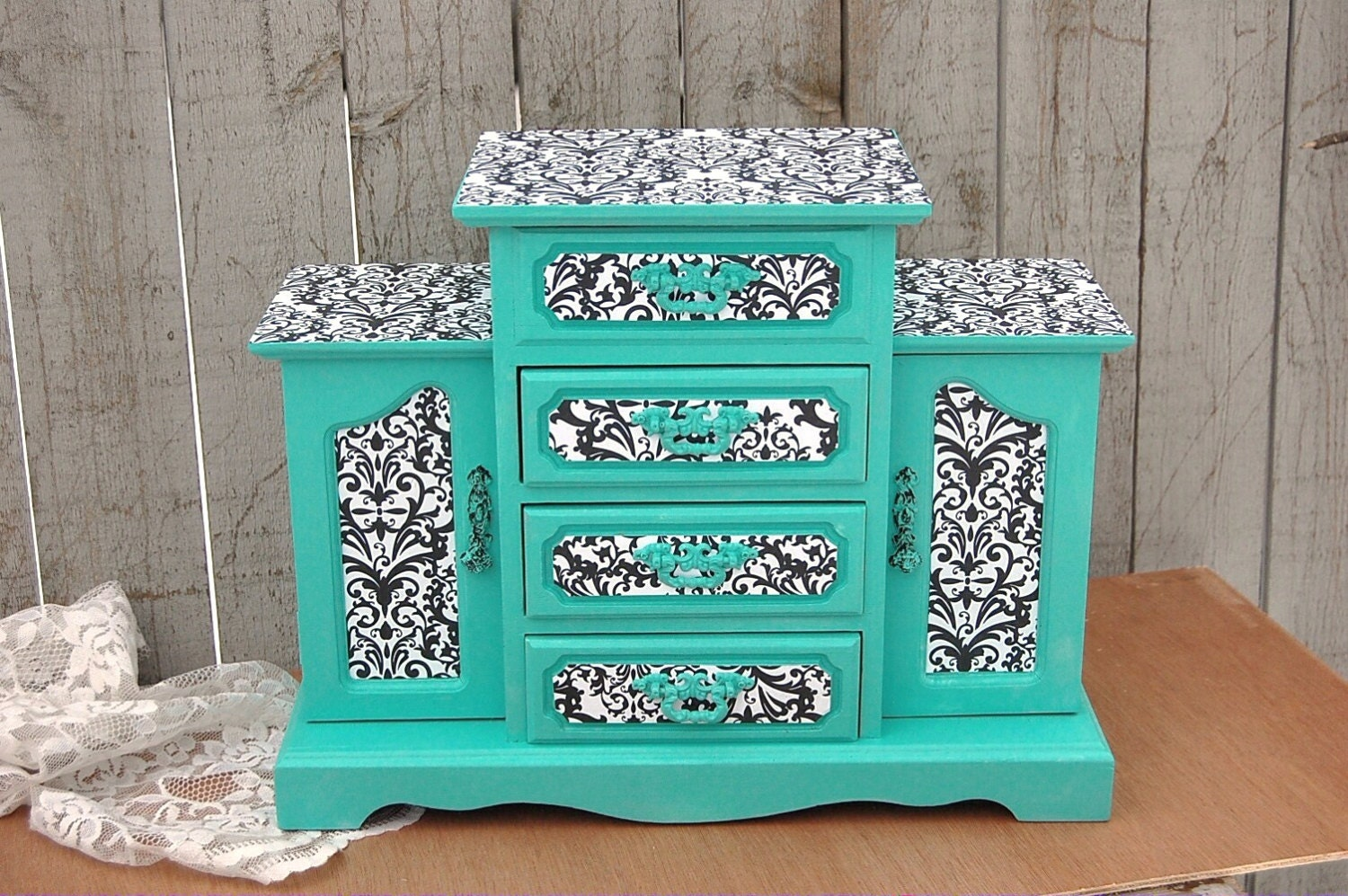 Shabby Chic Jewelry Box Armoire Tiffany Blue By