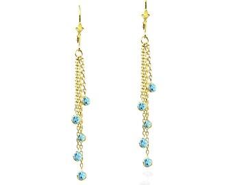 14K Gold Gemstone Chandelier Earrings With Blue Topaz
