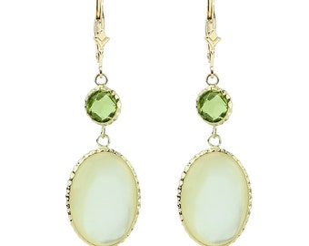 14K Gold Gemstone Earrings With Peridot & Mother Of Pearl