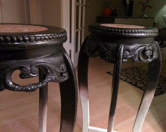 Custom burned plant stands with marble tops