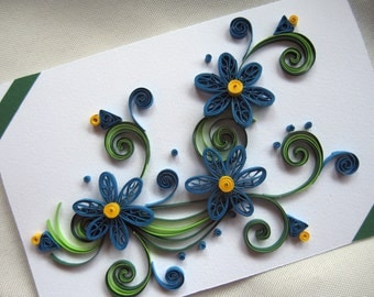 Quilling Greeting Card - Handmade Thank You Card - Paper Quilling Birthday Card - Quilling Flowers