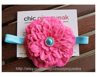Turquoise and Pink Baby Headband, Baby Headband, Toddler Headband, Newborn Headband, Ivory Flower Headband, Kids Headband, Baby Gift