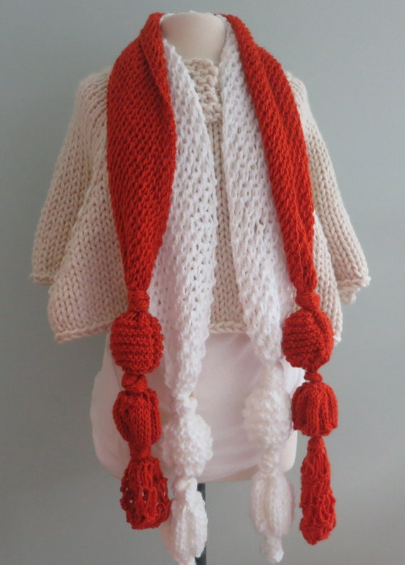 Knitting Patterns For Unusual Scarves : Items similar to PDF 165 Two Knitting Scarf Patterns, The Eclectic Scarf, Nec...