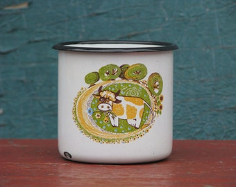 Rare Soviet Unused Vintage enamel mug cup with animal farmhause ornament - Home decor - Made in USSR