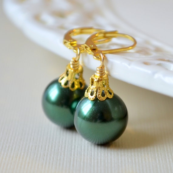 Forest green glass pearl earrings christmas balls gold