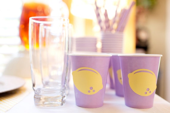 ... 20 lemon and lavender OR lemonade party cups (You choose color of cup