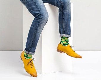 Men's Yellow Oxford Shoes - Flat Shoes - Men's Leather Shoes - Men's Shoes - Yellow Shoes - Yellow Flats - Yellow Dress Shoes- Arama