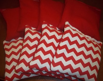 8 ACA Regulation Cornhole Bags - 4 handmade from red & white Chevron Stripes Fabrics - 4 Solid RED
