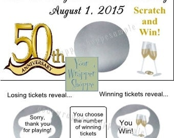 Personalized 50th Anniversary Scratch off Tickets Lottery Type Game Party Favors