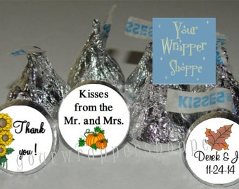 540 Personalized FALL WEDDING Party Favors Kiss Labels Stickers Supplies