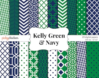 Kelly Green & Navy digital paper - preppy trellis nautical background texture photography backdrop scrapbook Instant Download 8047