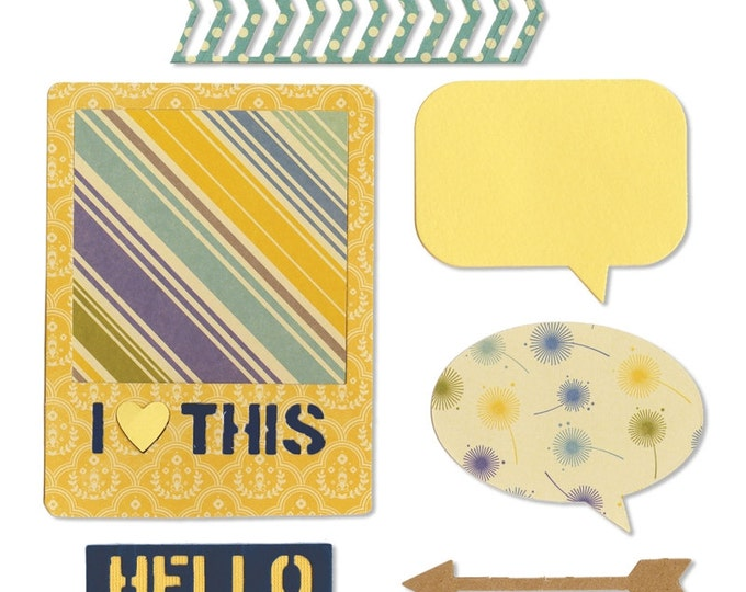 New! Sizzix Thinlits Die Set 6PK - I Heart This by Jillibean Soup (659766)