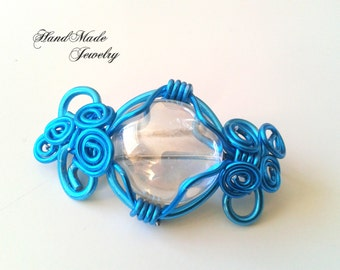 SALE ITEM : Brooch blue aluminium wire and crystal stone Wirework Brooch  Unique Jewellery Brooch Mother day pin brooch jewelry gift for her