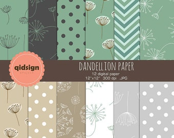 BUY2GET1FREE Dandelion digital papers scrapbooking paper photography background personal and commercial use instant download