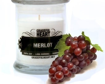 Merlot Soy Candle, Soy Container Candle, Scented Soy Candle, 12 oz, Natural Soy Candle