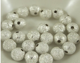 8mm Silver Stardust Beads-Qty 25 (MW 8R ST)