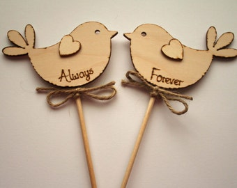 Rustic Wedding Cake Topper, Always / Forever, Bird Cake Topper - Rustic Cake Topper, Wooden Cake Topper