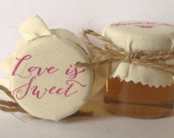 Love is Sweet Wedding Favours filled with Pure Welsh Honey Mini Jars Vintage style Summer Wedding