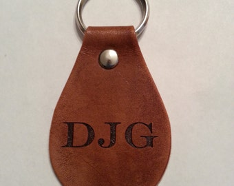 leather monogram personalized key chain, key fob, initials keychain, key tag, key holder