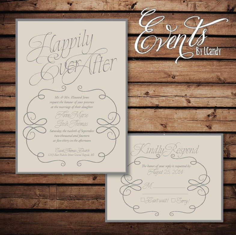 happily ever after invitation and rsvp – OnePaperHeart ...  happily ever af...
