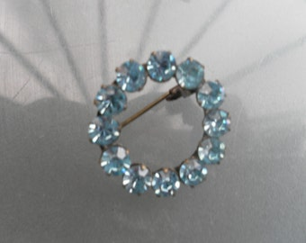vintage retro blue glass round brooch