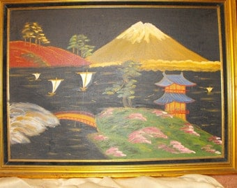 Vintage Japanese Painting in Original Vintage Frame that accents painting perfectly.  Professionally framed and labeled. One of a Kind/Steal