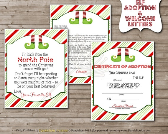 PRINTABLE Little Magic Shelf Elf Inspired ADOPTION Certificate ...